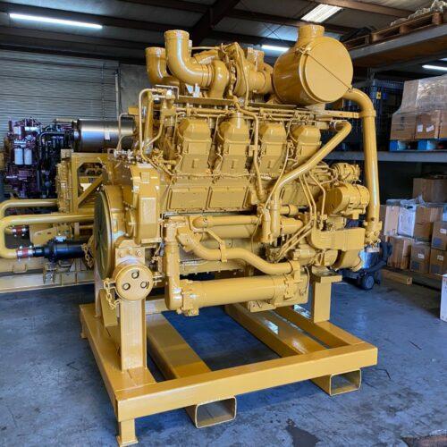 Yellow industrial Caterpillar engine
